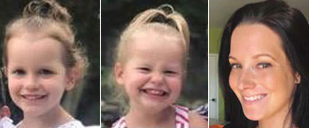 Montagem com fotos de Bella, de 4 anos, Celeste, de 3, e a mãe delas, Shannan Watts  — Foto: The Colorado Bureau of Investigation via AP