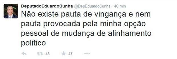Após romper com o governo, Cunha afirma no Twitter que não vai impor pauta de vingança (Foto: Reprodução / Twitter)