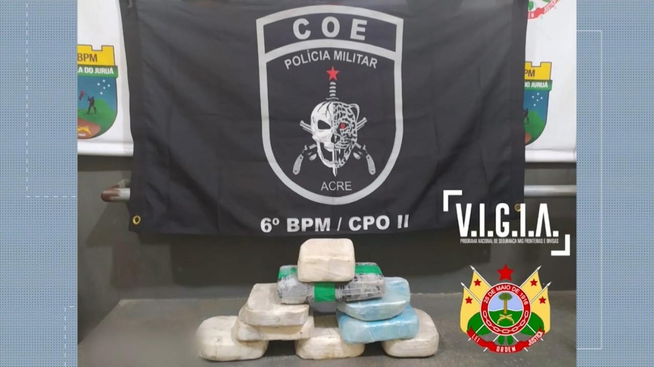 Polícia apreende mais de 58 quilos de drogas dentro de barco no interior do Acre