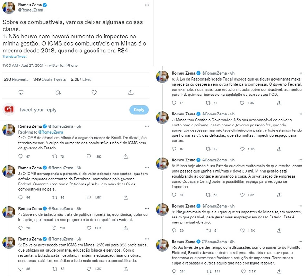 Romeu Zema publica tweets sobre aumento dos combustíveis. — Foto: Reprodução