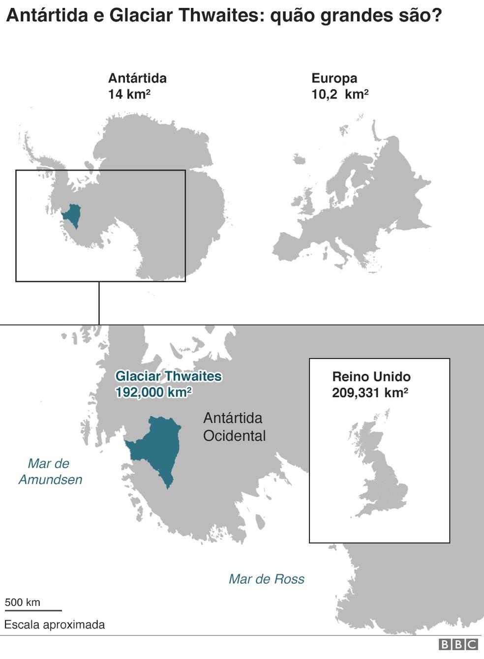 Antártica e Glaciar Thwaites: quão grandes são? — Foto: BBC