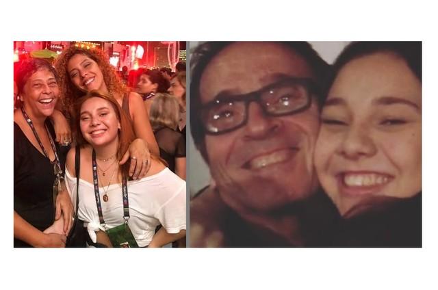 Kátia e as filhas, Bianca e Giovanna; Ivan Brito, seu marido, e Giovanna (Foto: Reprodução)