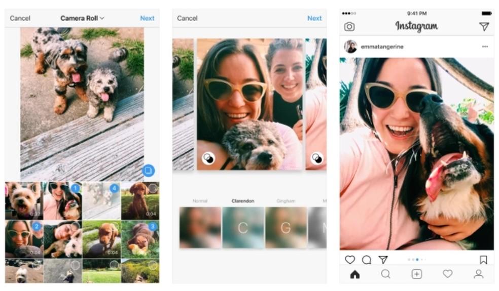 Instagram disponibiliza fotos e vídeos em forma de retrato ou paisagem na hora de publicar álbuns em um único post (Foto: Reprodução/Instagram)