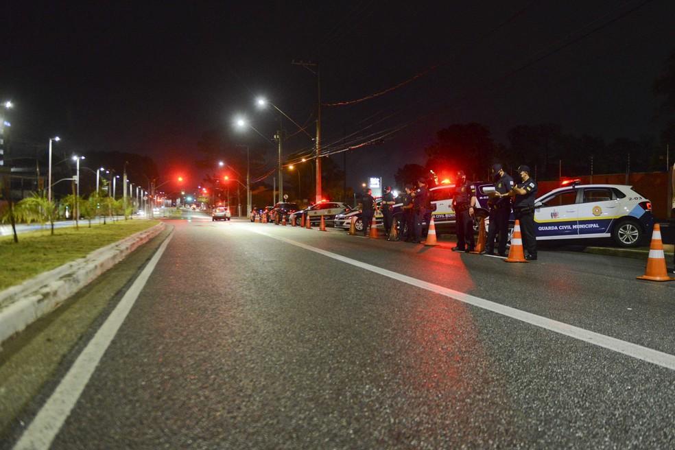Barreira policial criada pela Guarda Civil Metropolitana (GCM) de São Bernardo do Campo, na Grande SP. — Foto: Divulgação/Prefeitura de SBC