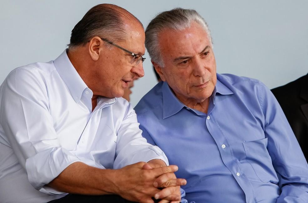 O governador de São Paulo, Geraldo Alckmin, e o presidente Michel Temer, durante evento no dia 2 de dezembro, em Limeira (SP) (Foto: Alan Santos, PR)