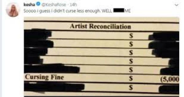 Kesha compartilhou em sua conta no Twitter que havia recebido a multa após o show (Foto: Reprodução/Twitter)