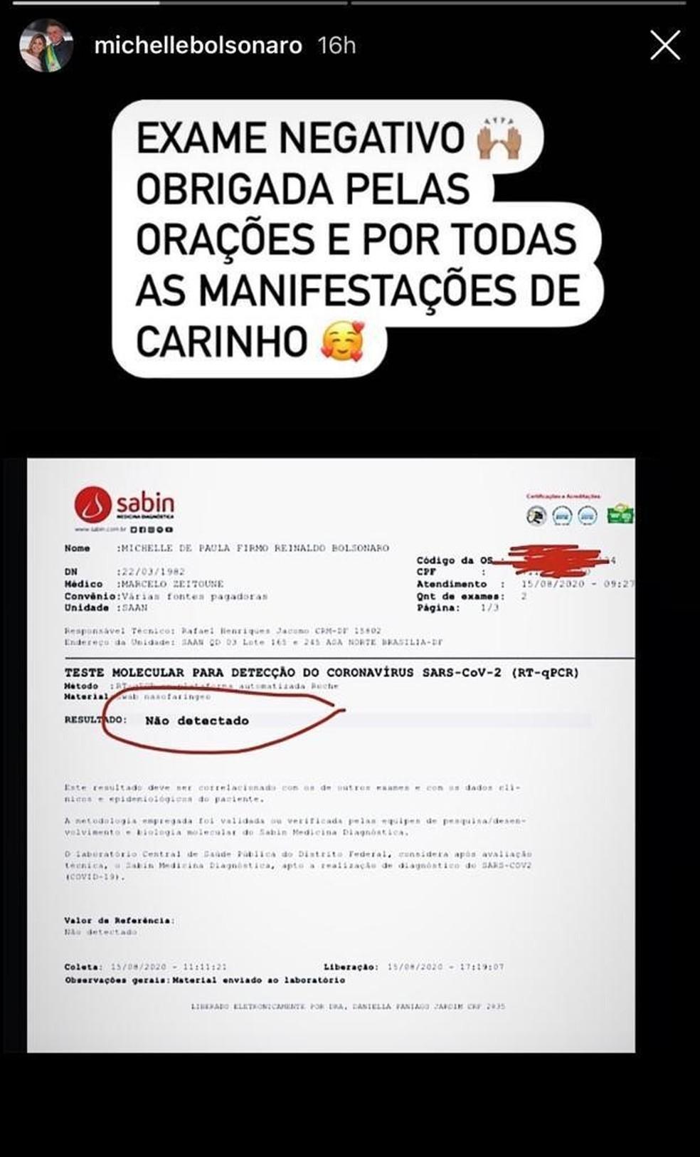 Postagem de Michelle Bolsonaro em rede social — Foto: Reprodução