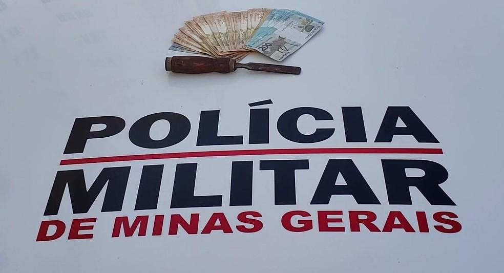 PM recuperou dinheiro furtado e apreendeu a ferramenta usada nos crimes — Foto: Polícia Militar/ Divulgação