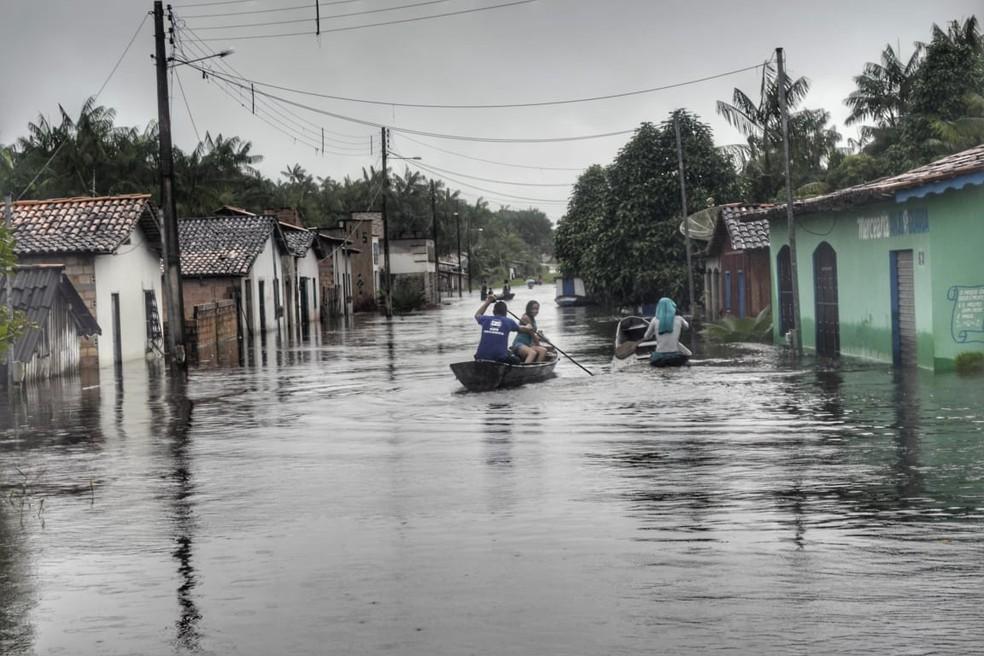 Após as chuvas, várias casas foram atingidas pelo volume de água em Boa Vista do Gurupi — Foto: Ascom/Prefeitura de Boa Vista do Gurupi