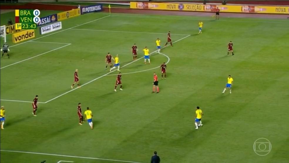 Venezuela se fechou no 5-4-1 contra o Brasil — Foto: Reprodução