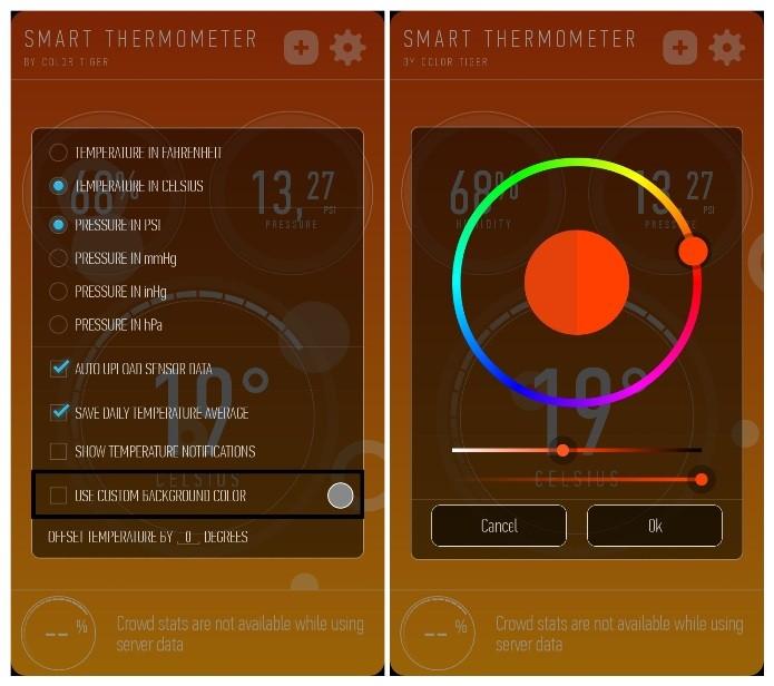 O Smart Thermometer permite que o usuário personalize a cor de fundo (Foto: Reprodução/Lívia Dâmaso)