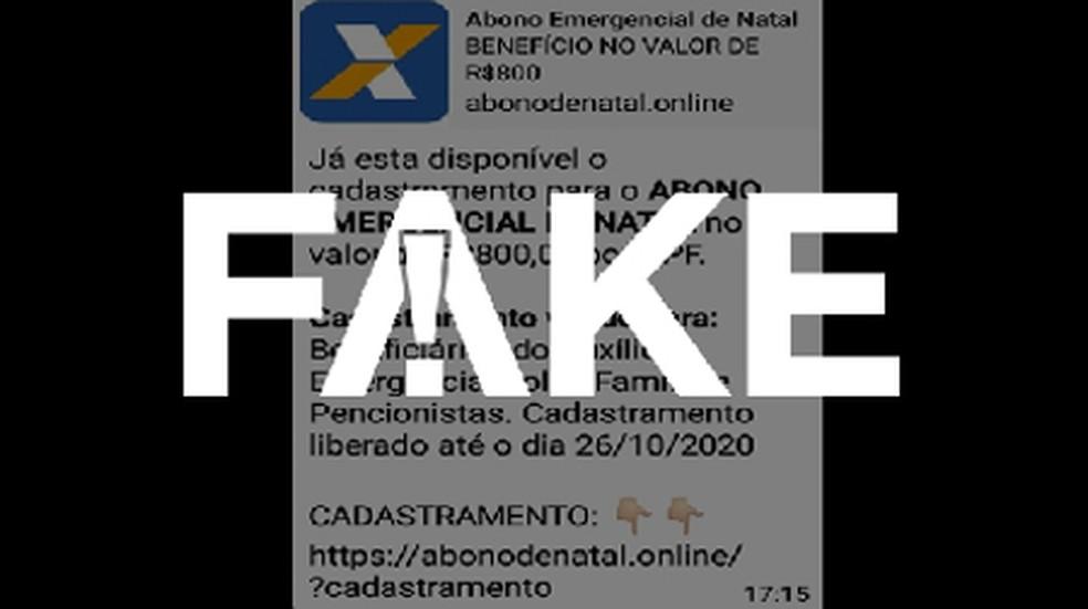 É #FAKE que governo federal vá pagar 'abono emergencial de Natal' de R$ 800 — Foto: Reprodução