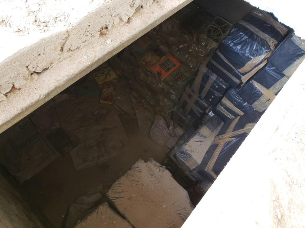 Droga estava escondida no subterrâneo de um galpão em Parnamirim, região metropolitana de Natal. — Foto: Polícia Federal/Divulgação