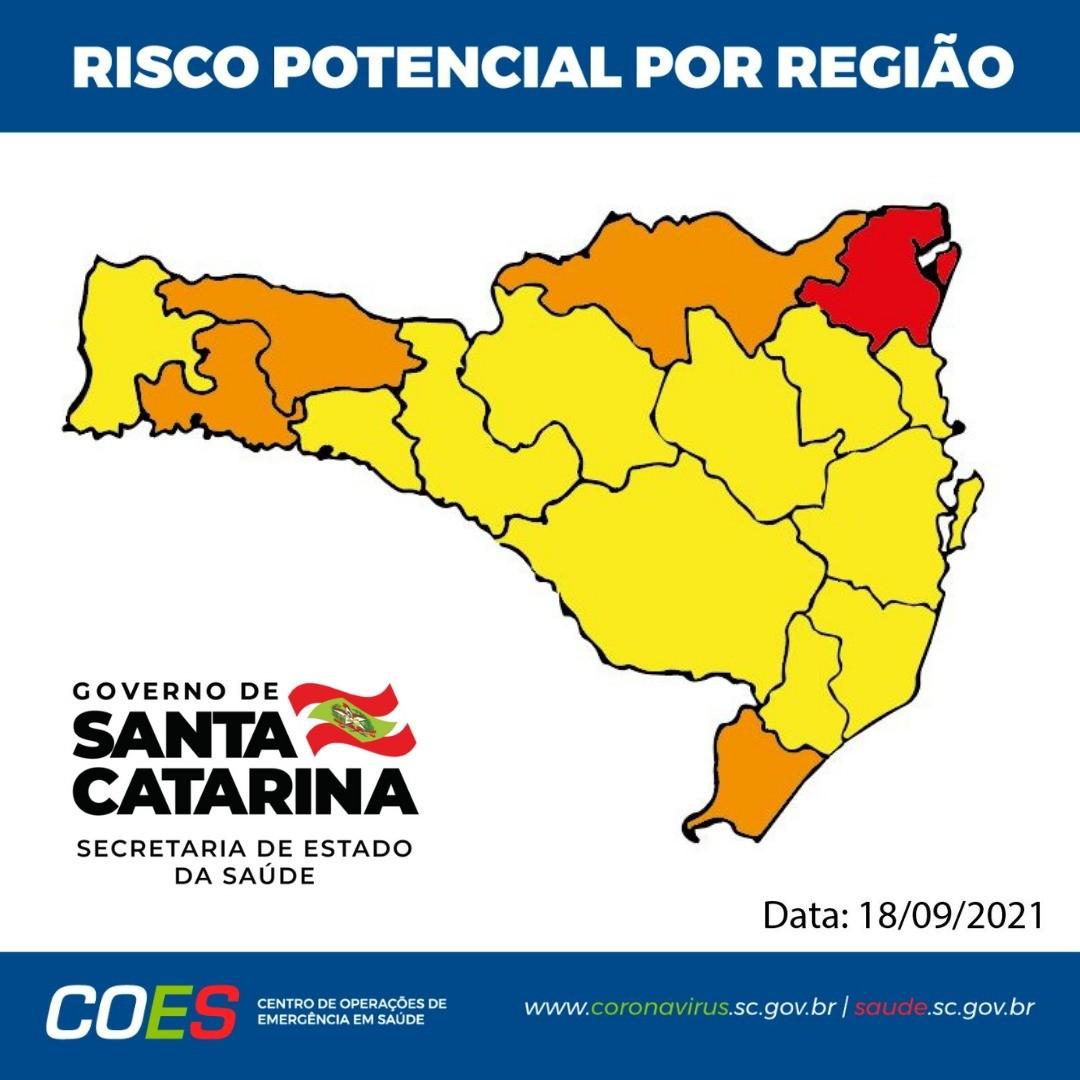 Mapa de risco de SC segue com uma região em nível gravíssimo pela 2ª semana consecutiva
