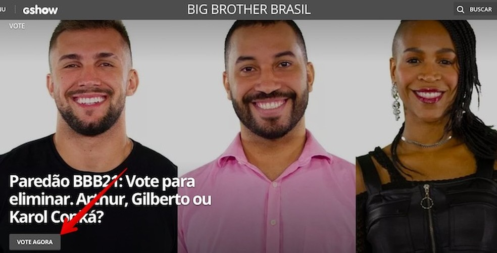 Votação BBB 2021: clique sobre o banner do paredão — Foto: Reprodução/Helito Beggiora