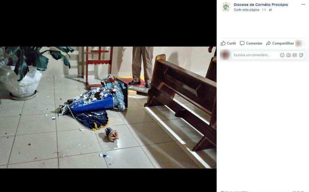 Ainda conforme a PM, o homem aparentava estar em surto quando foi apreendido (Foto: Reprodução/Facebook)