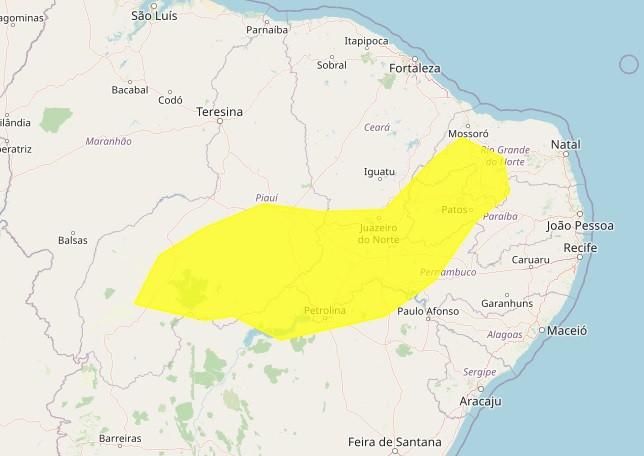 Inmet emite alerta amarelo de baixa umidade para 71 cidades do RN; veja lista