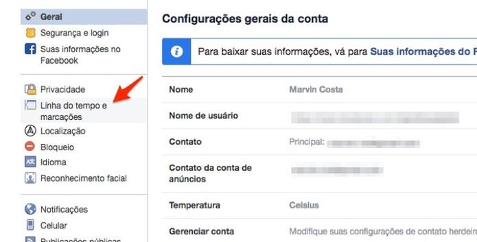 Ação para acessar a opção para linha do tempo e marcações em uma conta do Facebook (Foto: Reprodução/Marvin Costa)