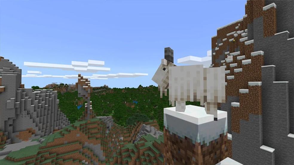 Prepare-se para disputar espaço com as novas Cabras nas montanhas de Minecraft com a atualização Caves & Cliffs: Part 1 — Foto: Reprodução/Minecraft