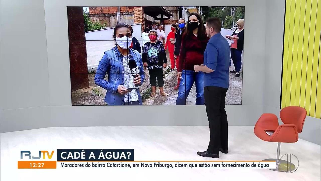 Moradores do Catarcione, em Nova Friburgo, RJ, reclamam de falta de água