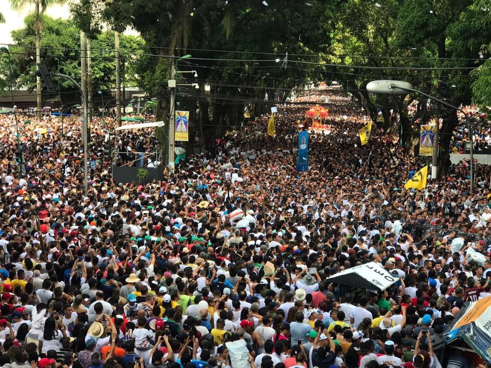A partir de 1992, todos os anos a procissão recebe milhões de fiéis em romaria pelas ruas de Belém — Foto: Tarso Sarraf