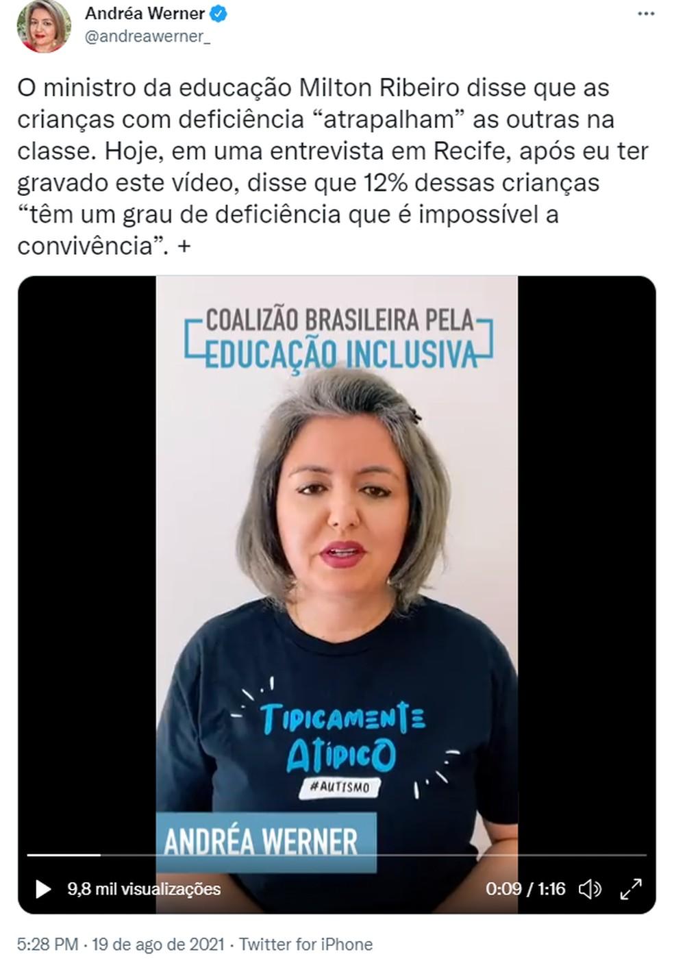 Andréa Warner rebate fala do Ministro da Educação — Foto: Reprodução/Twitter