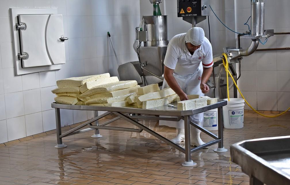 Laticínios em Cruzília (MG) chegam a usam 30 mil litros de leite por dia — Foto: Fernanda Rodrigues/G1