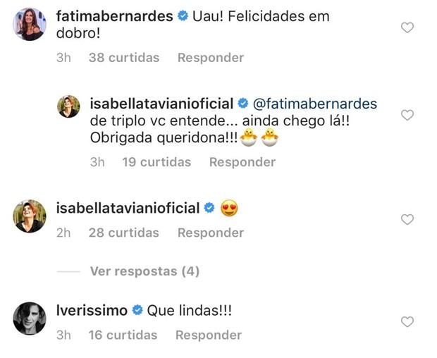 Fátima Bernardes e Lúcia Veríssimo parabenizam Isabella e Myllena (Foto: Reprodução/Facebook)