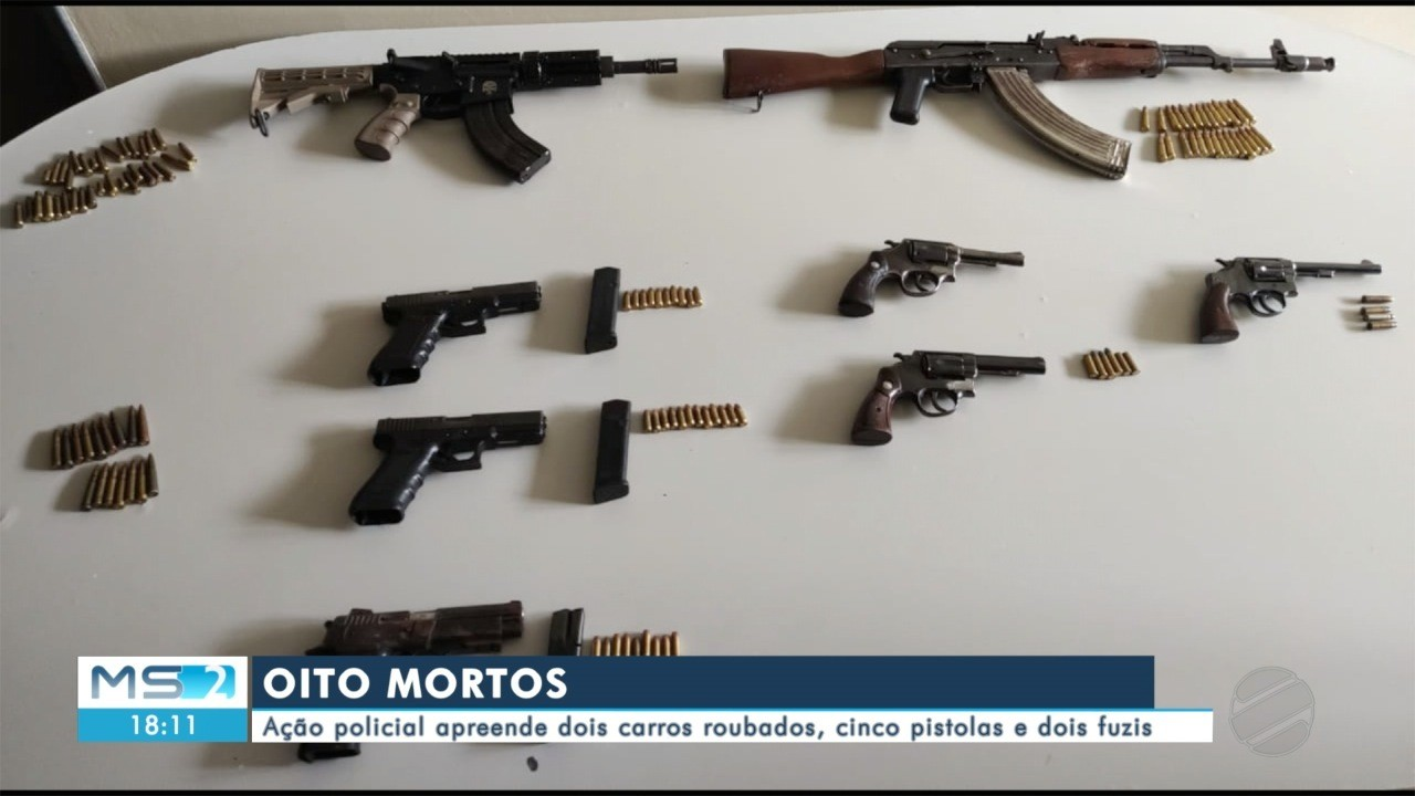 Em Ponta Porã, ação policial deixa 8 mortos e apreende dois carros roubados e dois fuzis