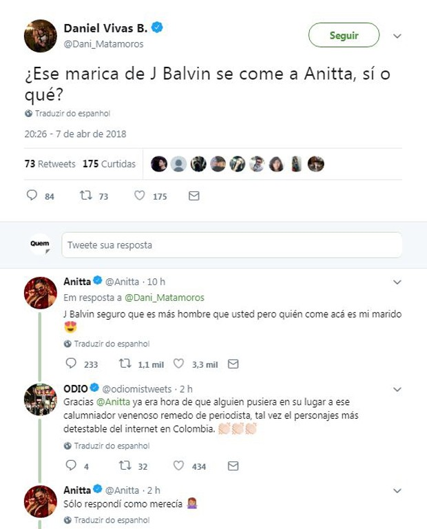 Anitta dá resposta ácida a jornalista colombiano (Foto: Reprodução/Twitter)