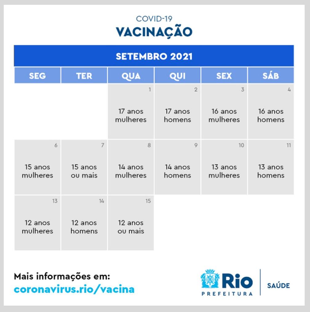Novo calendário da vacinação no Rio para setembroq — Foto: Reprodução