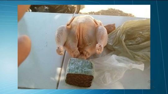 Homem é preso na PB tentando entregar frangos 'recheados' com maconha em cadeia