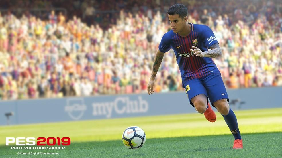 -  Brasileiro Philippe Coutinho, atualmente no Barcelona, é o garoto-propaganda de   39;PES 2019  39;  Foto: Divulgação/Konami