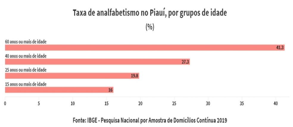 Taxa de analfabetismo no Piauí por grupos de idade — Foto: Reprodução/IGBE