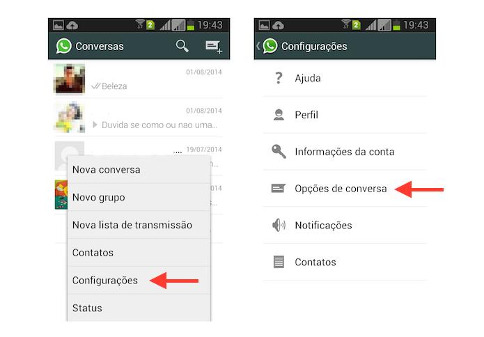 Acessando as configurações de conversas do WhatApp no Android (Foto: Reprodução/Marvin Costa)