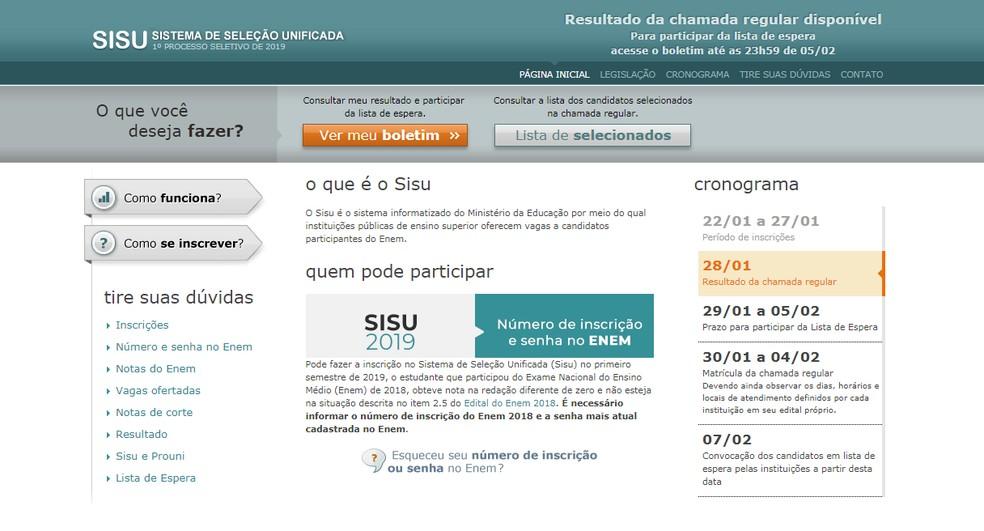 Resultado da primeira chamada do Sisu 2019 está disponível — Foto: MEC/Divulgação