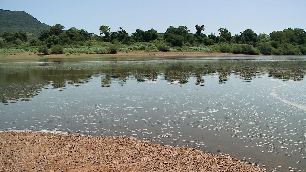 Espuma apareceu no Rio Taquari em sete cidades da região — Foto: Reprodução/RBS TV