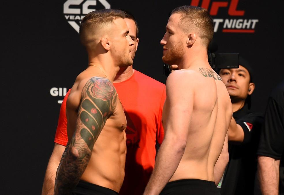 Destaques no peso-leve, Dustin Poirier e Justin Gaethje fazem a luta principal do UFC Glendale (Foto: Getty Images)