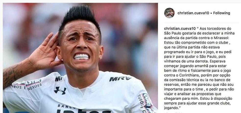 O post de Cueva posteriormente apagado com um desabafo em uma rede social (Foto: reprodução / Instagram)