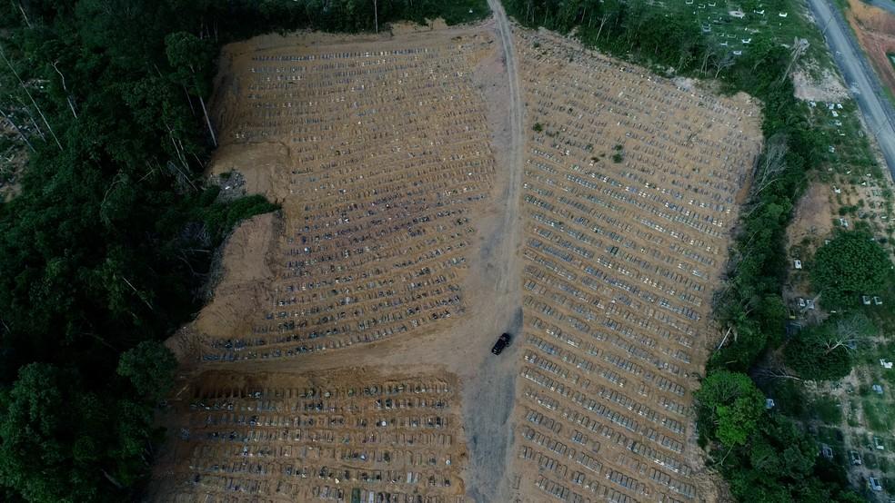 Imagem do cemitério Tarumã, realizada no dia 28 de dezembro. Restam apenas 80 vagas no local para mortos por Covid-19 — Foto: Reprodução