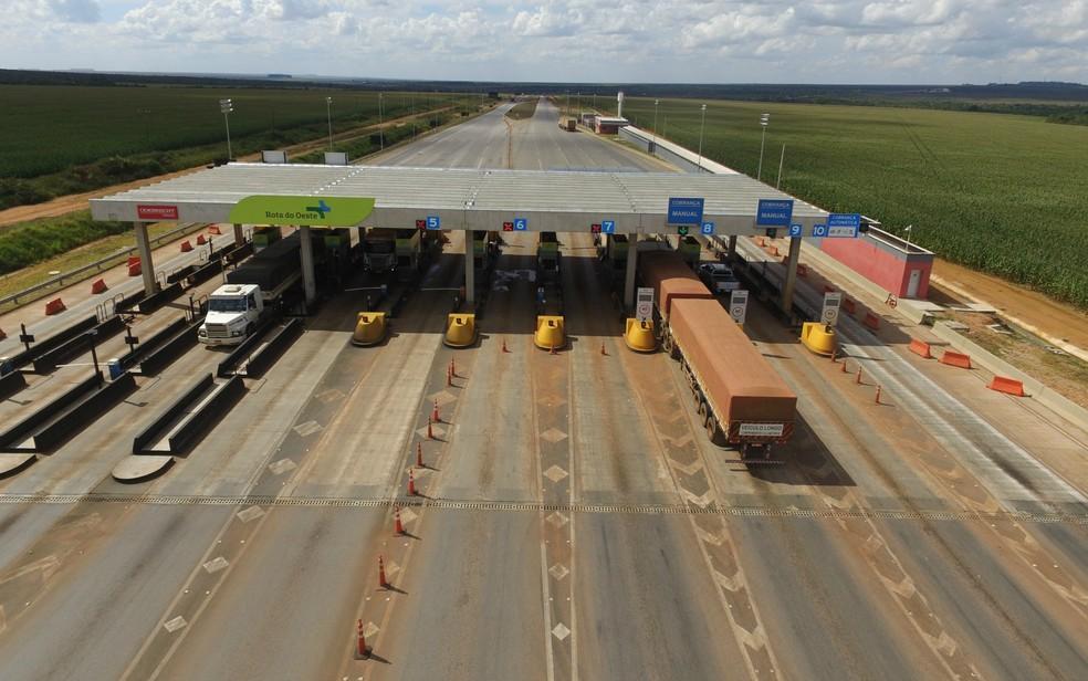 Uma das praças de pedágio instaladas pela concessionária em MT — Foto: Divulgação/Rota do Oeste