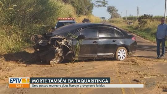 Um morre e dois ficam feridos em colisão frontal em estrada vicinal de Taquaritinga, SP