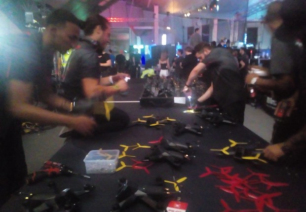 Drones na semifinal da Drone Racing League (DRL) (Foto: Juliana Guarany)