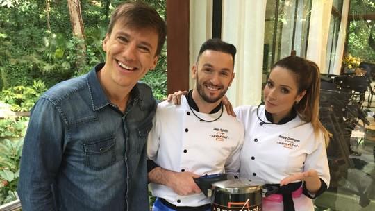 Diego Hypolito e Renata Dominguez pedem votos após resultado da Panela de Pressão do 'Super Chef'