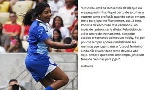 A cantora Ludmilla tem uma relação antiga com o futebol | Alexandre Durão/ ge.com
