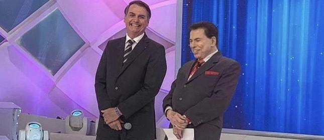 Presidente Jair Bolsonaro e o apresentador Silvio Santos em gravação de programa do SBT