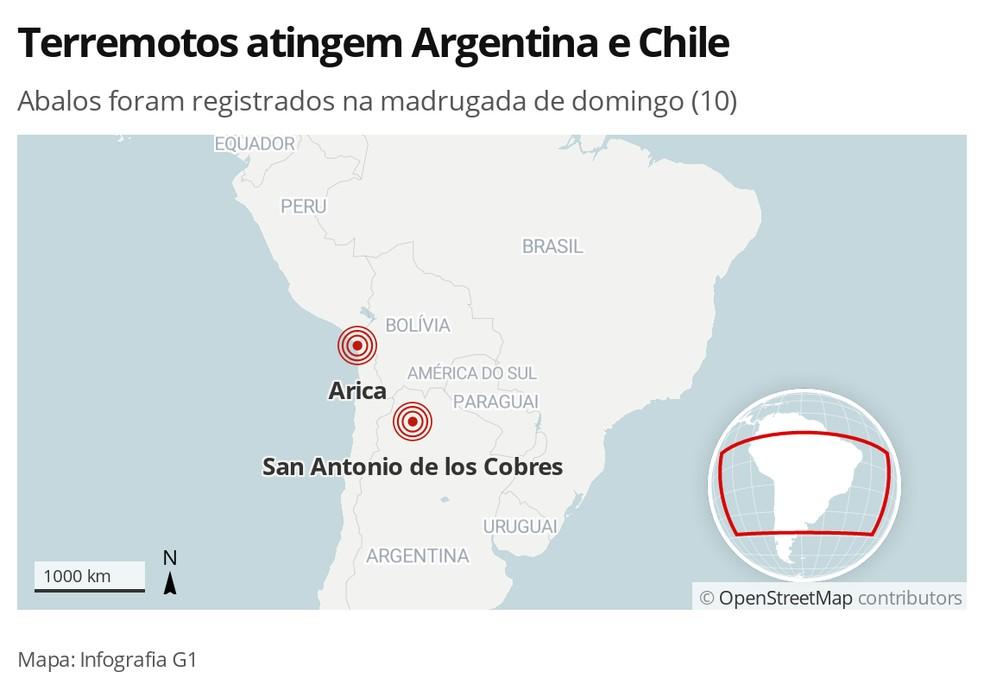 Imagem mostra epicentros dos tremores — Foto: Infografia/G1