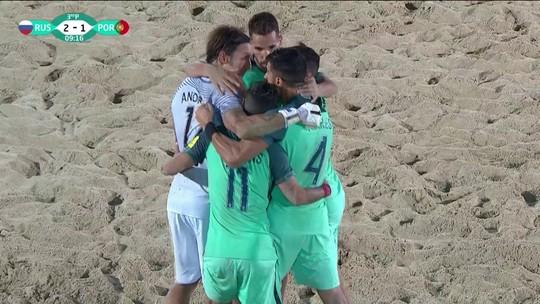 Os gols de Rússia 2 x 3 Portugal pela Copa Intercontinental de Futebol de Areia