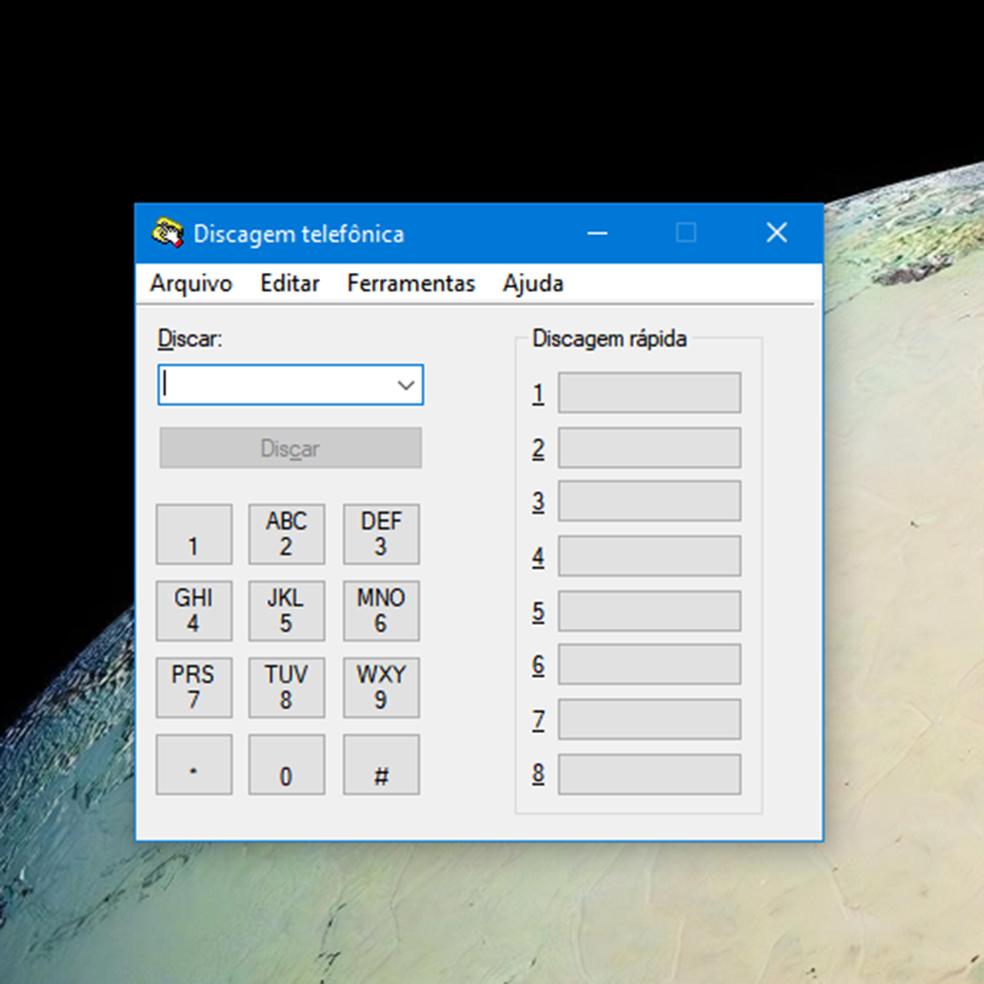 Discador (dialer) para ligações telefônicas do Windows 95 ainda faz parte do Windows 10 (e funciona) — Foto: Reprodução/Filipe Garrett