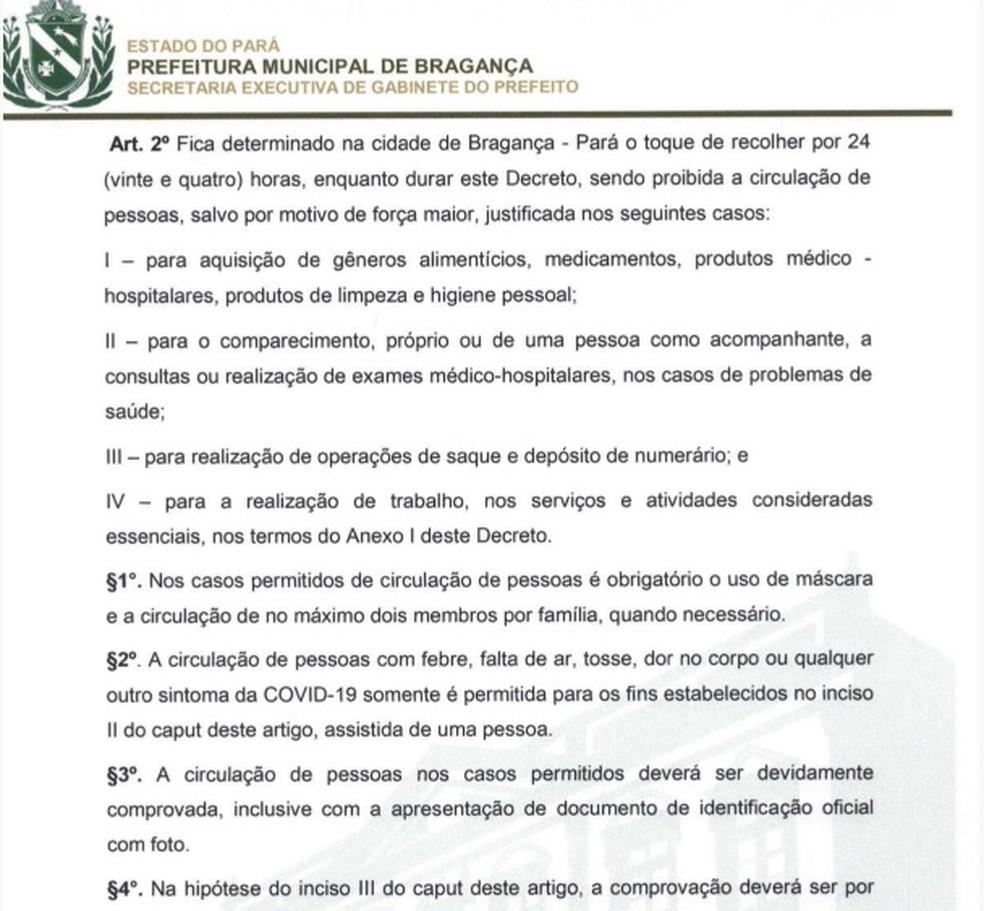 Decreto da prefeitura de Bragança restringe o trânsito de pessoas e determina o uso obrigatório de máscaras de proteção — Foto: Reprodução